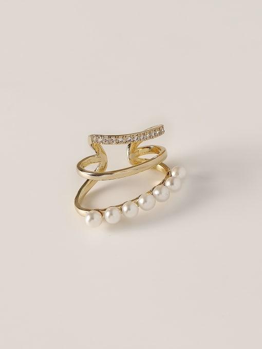 HYACINTH Brass Imitation Pearl Geometric Vintage Clip Earring 0