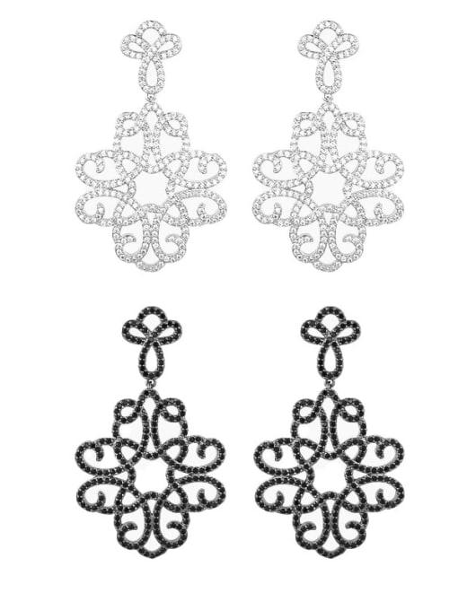 OUOU Brass Cubic Zirconia Flower Hip Hop Drop Earring 2