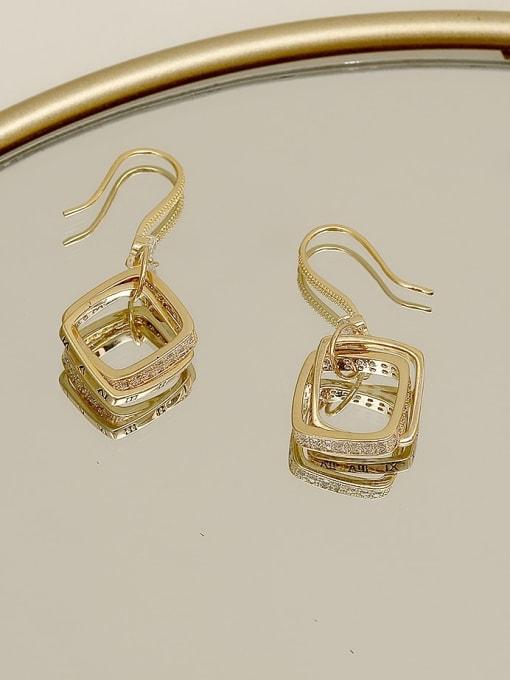 14k gold Copper Cubic Zirconia Geometric Minimalist Hook Earring