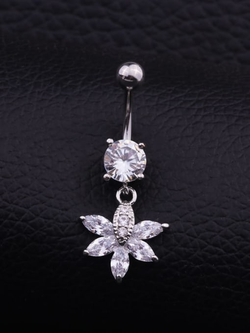 Section G  (Single) Titanium Steel Cubic Zirconia Flower Hip Hop Belly Rings & Belly Bars