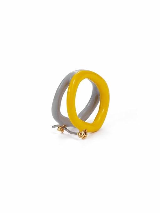 yellow + gray Brass Enamel Geometric Minimalist Stud Earring