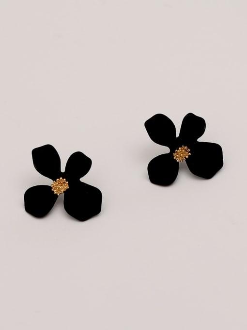 black Brass Enamel Flower Cute Stud Earring