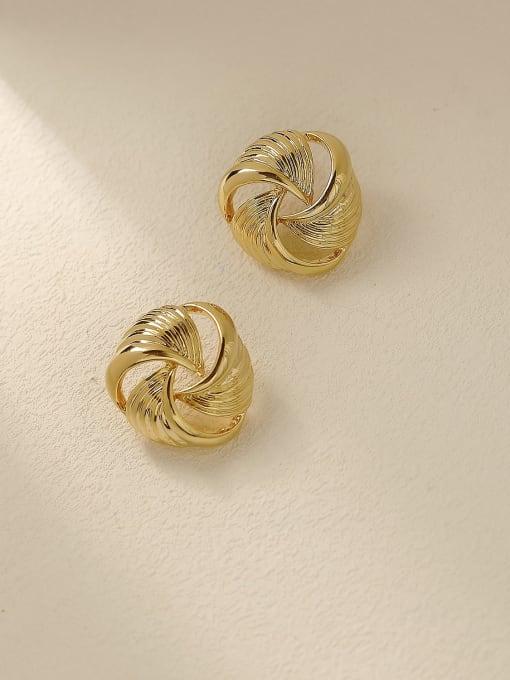 14K gold Brass Hollow Geometric Vintage Stud Trend Korean Fashion Earring