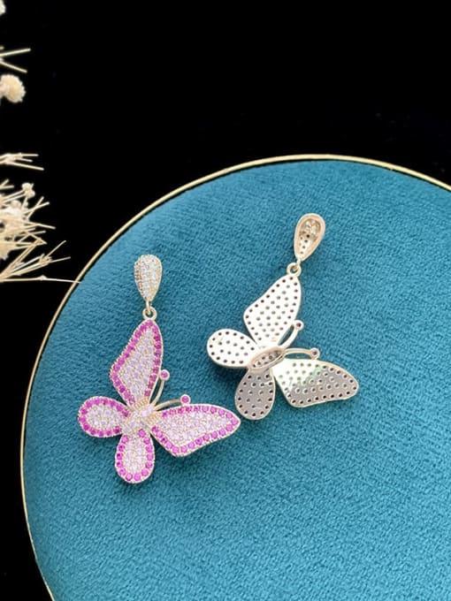 SUUTO Brass Cubic Zirconia Butterfly Trend Drop Earring 2