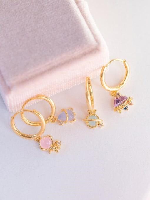 COLSW Brass Cubic Zirconia Irregular Minimalist Drop Earring 1