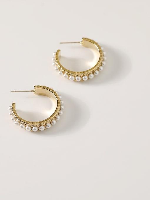 14k Gold Brass Imitation Pearl Geometric Hip Hop Hoop Earring