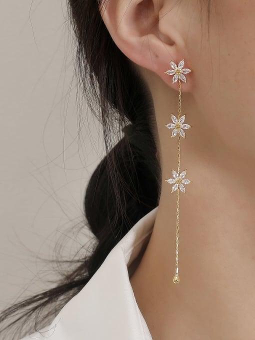 HYACINTH Brass Cubic Zirconia Tassel Minimalist Drop Earring 1