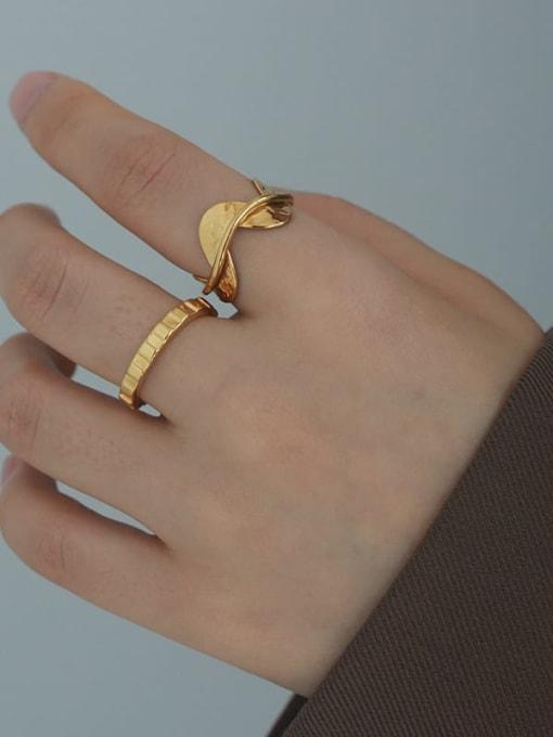 Five Color Brass Irregular Minimalist Band Ring 2