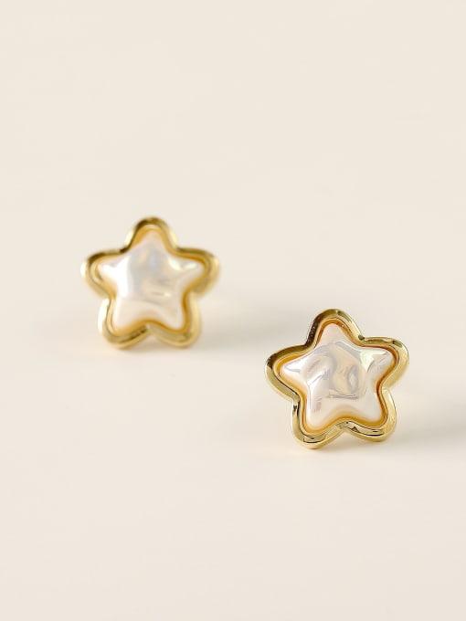 HYACINTH Brass Imitation Pearl Star Minimalist Stud Earring 2