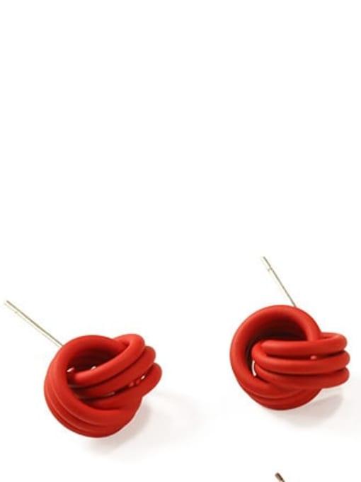gules Brass Enamel Geometric Cute Stud Earring