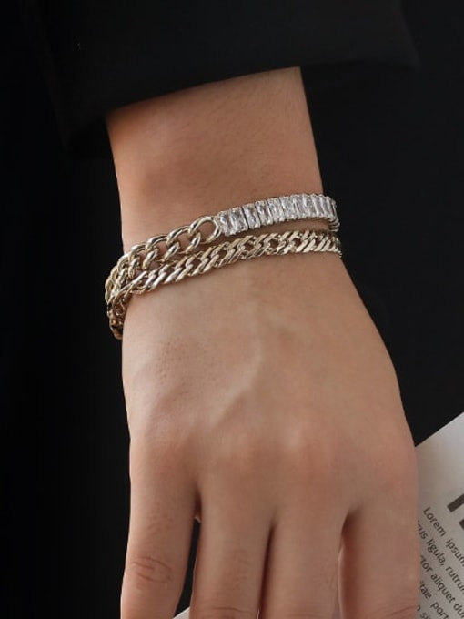 ACCA Brass  Hollow Geometric Vintage  Simple and versatile chain bracelet 1