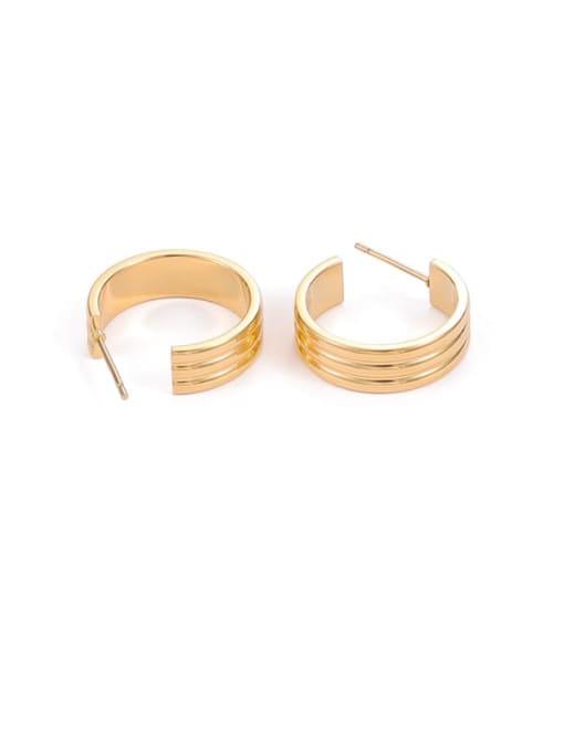 Golden 3-wire Titanium Steel Geometric Hip Hop Stud Earring