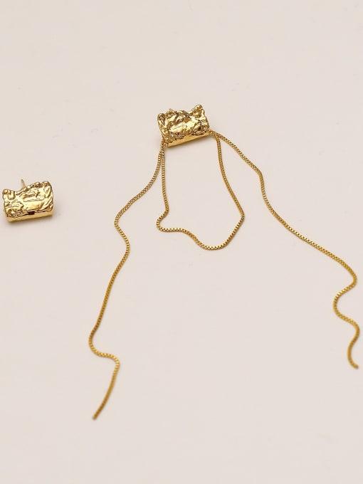 14k Gold Brass Tassel Vintage Drop Earring