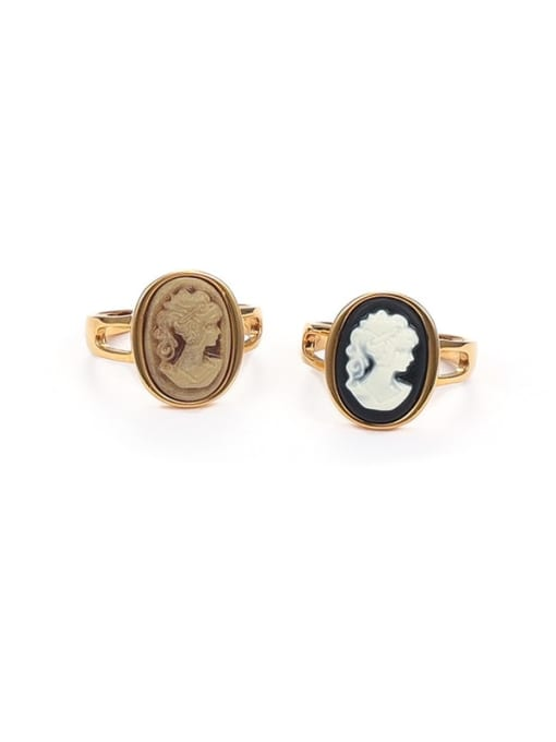 Five Color Brass Resin Geometric Vintage Band Ring 0