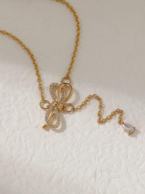 16K gold Brass Cubic Zirconia Bowknot Vintage Tassel Trend Korean Fashion Necklace