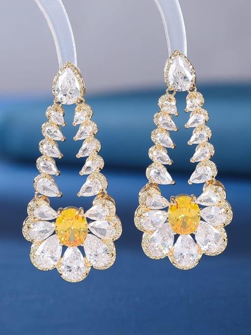gold+white Brass Cubic Zirconia Flower Luxury Drop Earring