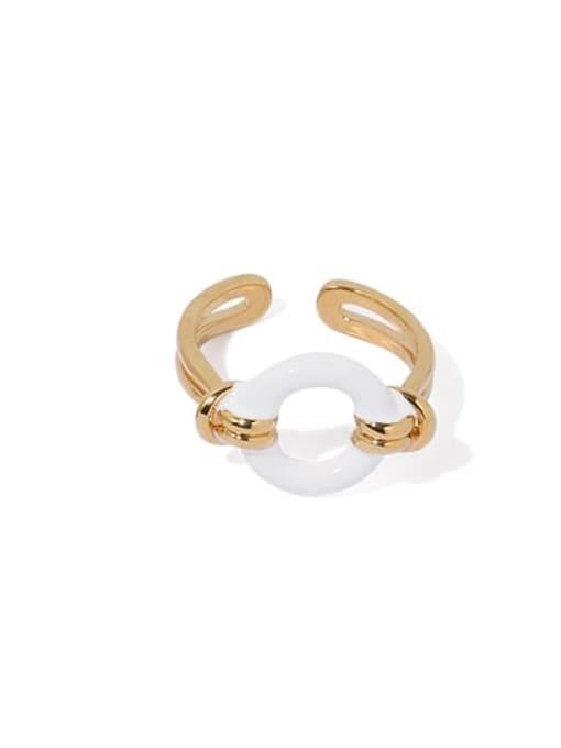 White oil dripping ring Brass Enamel Geometric Hip Hop Band Ring