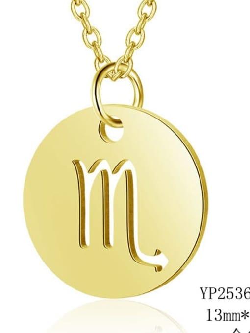 Scorpio gold Titanium Steel Constellation Minimalist  Round Pendant Necklace