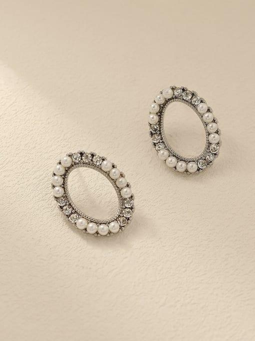 HYACINTH Brass Imitation Pearl Oval Vintage Stud Trend Korean Fashion Earring 2