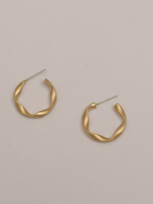 Dumb gold Brass Smooth Geometric Minimalist Stud Earring
