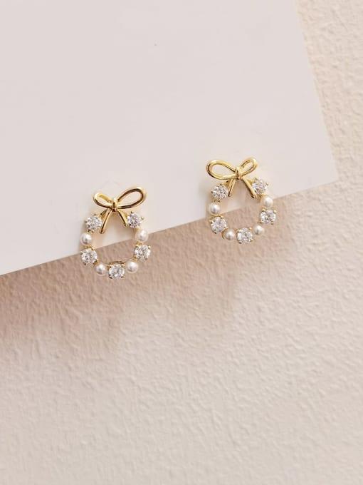 HYACINTH Brass Cubic Zirconia Bowknot Minimalist Stud Earring
