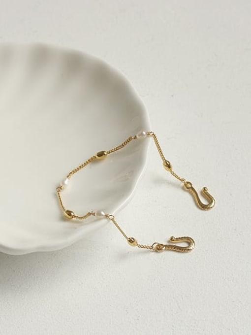 ACCA Brass Freshwater Pearl chain Vintage Link Bracelet