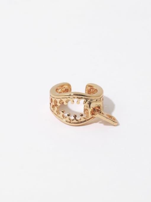 Zipper ear bone clip (sold separately) Brass Hollow Irregular Vintage Single Earring