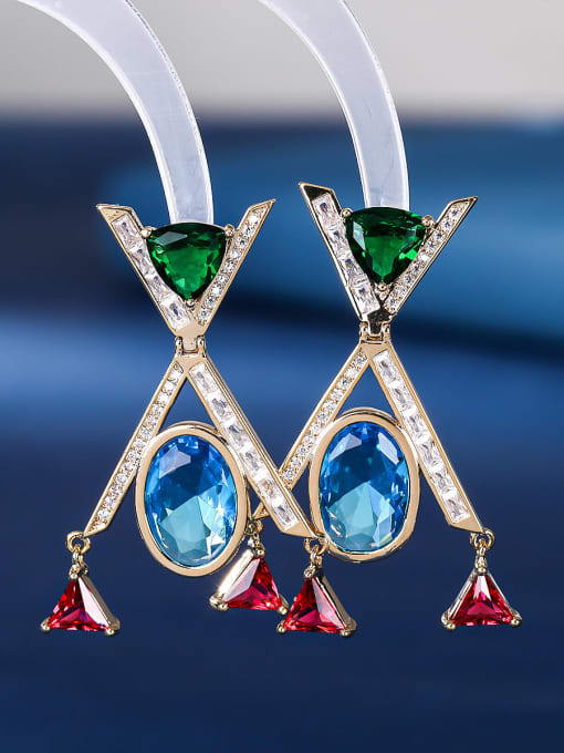 blue Brass Cubic Zirconia Geometric Minimalist Drop Earring