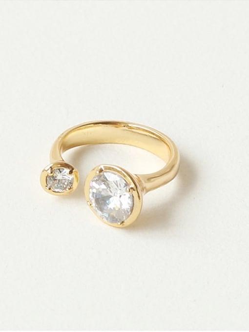 Five Color Brass Rhinestone Geometric Minimalist Band Ring 3