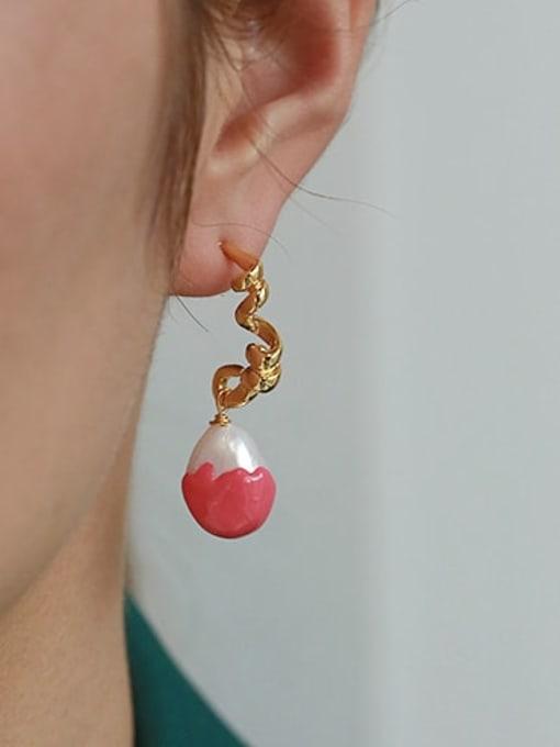 ACCA Brass Enamel Geometric Vintage Drop Earring 2