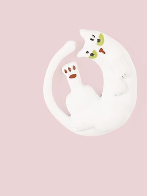 Five Color Alloy White Enamel Cat Cute Stud Earring 3