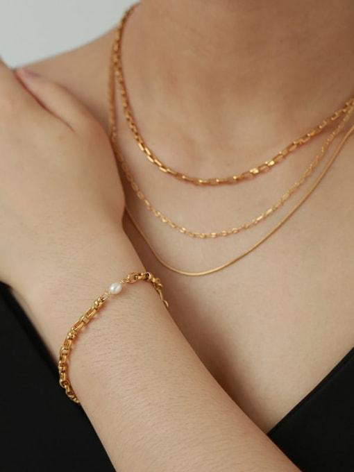 Five Color Brass Geometric Hip Hop Hollow Chain Link Bracelet 1