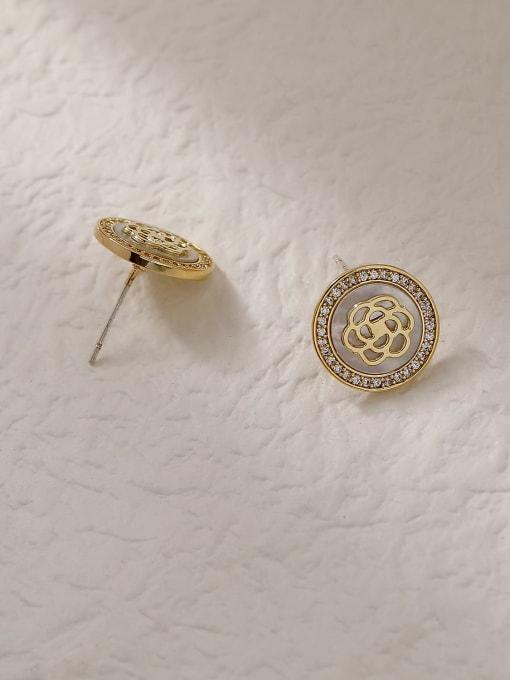 HYACINTH Brass Shell Round Vintage Stud Trend Korean Fashion Earring 3