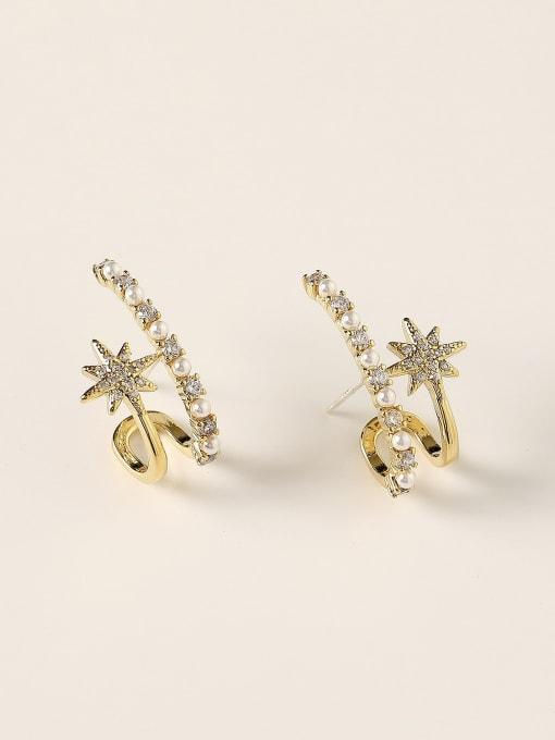 HYACINTH Brass Imitation Pearl Geometric Trend Stud Earring 0