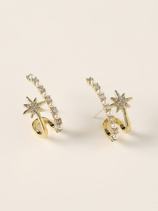 HYACINTH Brass Imitation Pearl Geometric Trend Stud Earring