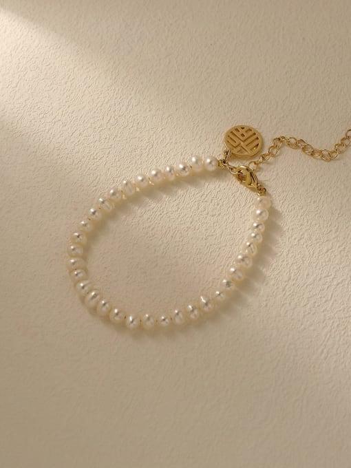 14k Gold Brass Imitation Pearl Geometric Minimalist Beaded Bracelet