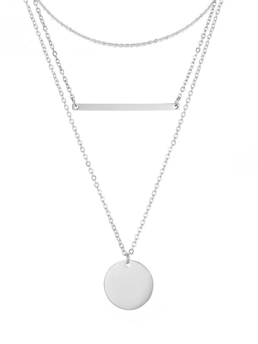 Steel color Stainless steel Minimalist Geometric  Pendant Multi Strand Necklace