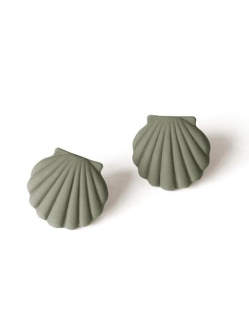 green Alloy Enamel Geometric Shell Cute Stud Earring