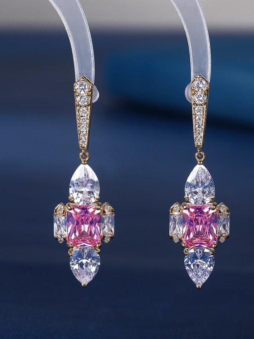 Pink Brass Cubic Zirconia Cross Luxury Stud Earring