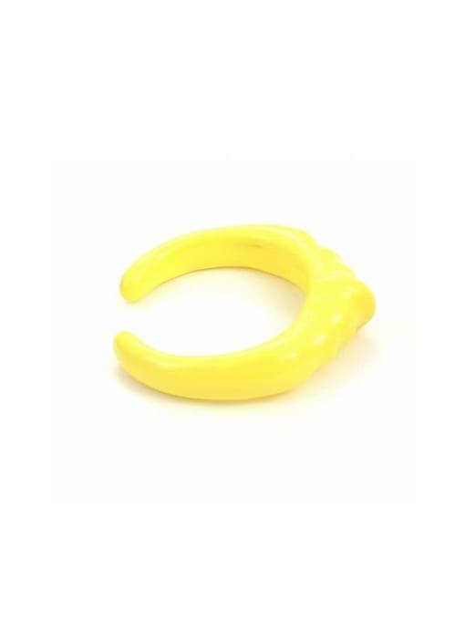 Yellow oil drop (ring 7) Zinc Alloy Enamel Geometric Minimalist Band Ring