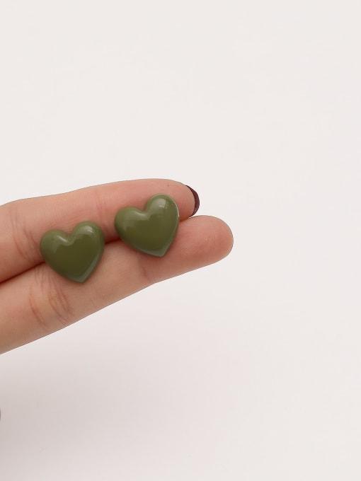 HYACINTH Brass Enamel Heart Minimalist Stud Earring 3