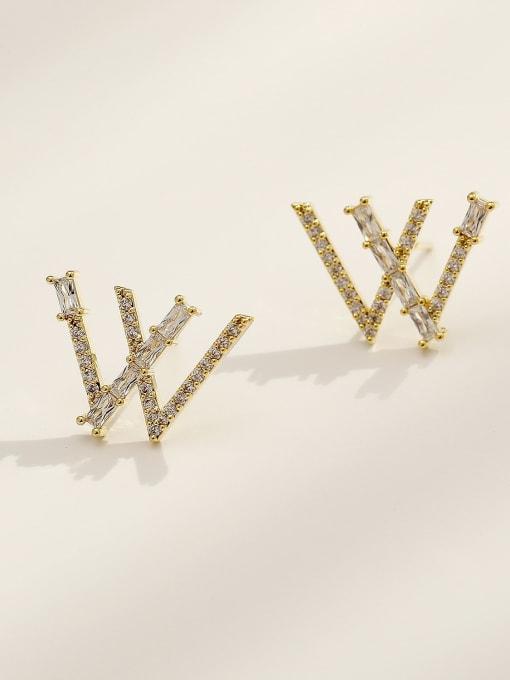 HYACINTH Brass Cubic Zirconia Letter W Vintage Stud Earring