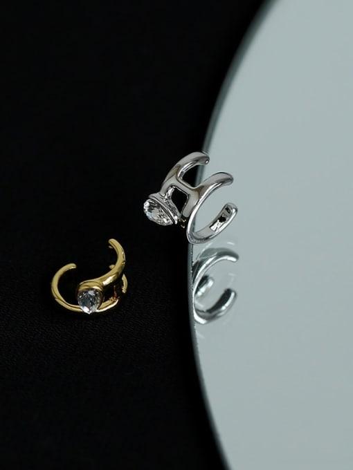 Five Color Brass Cubic Zirconia Water Drop Hip Hop Single Earring 4