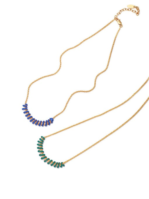 ACCA Brass Enamel Geometric Vintage Necklace 0