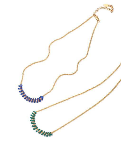 ACCA Brass Enamel Geometric Vintage Necklace