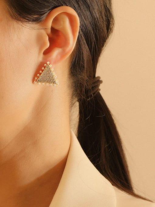 HYACINTH Brass Cubic Zirconia Triangle Vintage Stud Earring 1