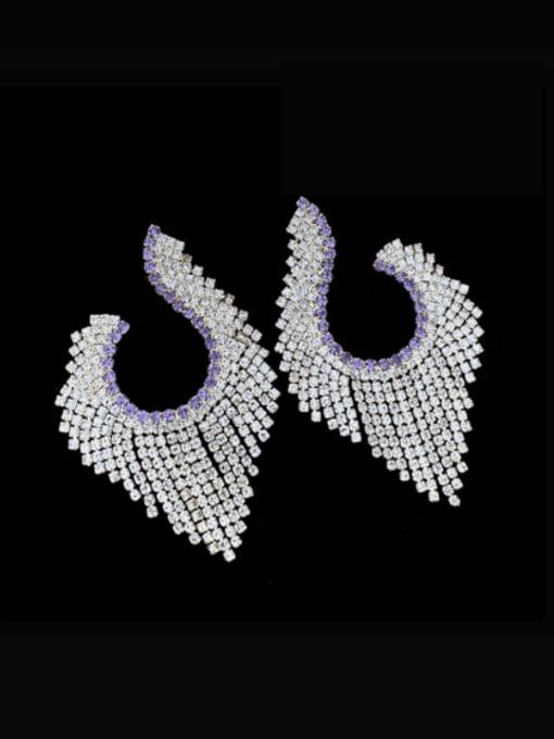 SUUTO Brass Cubic Zirconia Tassel Luxury Cluster Earring 1