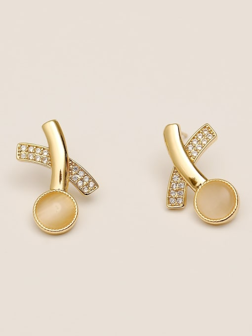 HYACINTH Brass Cats Eye Geometric Minimalist Stud Earring 2