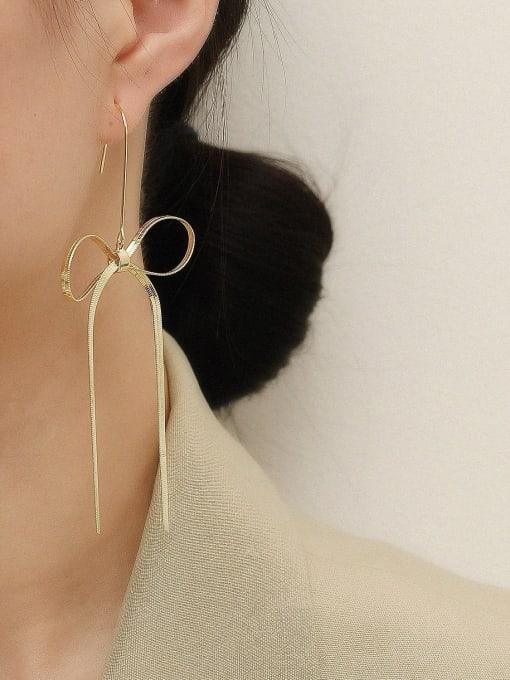 HYACINTH Brass Butterfly Tassel Minimalist Threader Earring 1
