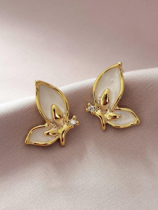 HYACINTH Brass Shell Butterfly Minimalist Stud Earring 0
